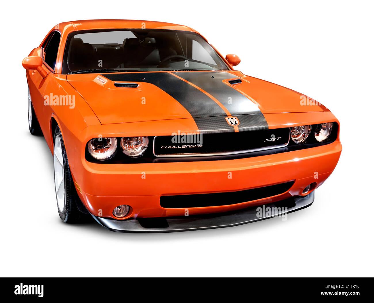 Orange 2008 Dodge Challenger Srt Muscle Car Isolated On White Stock