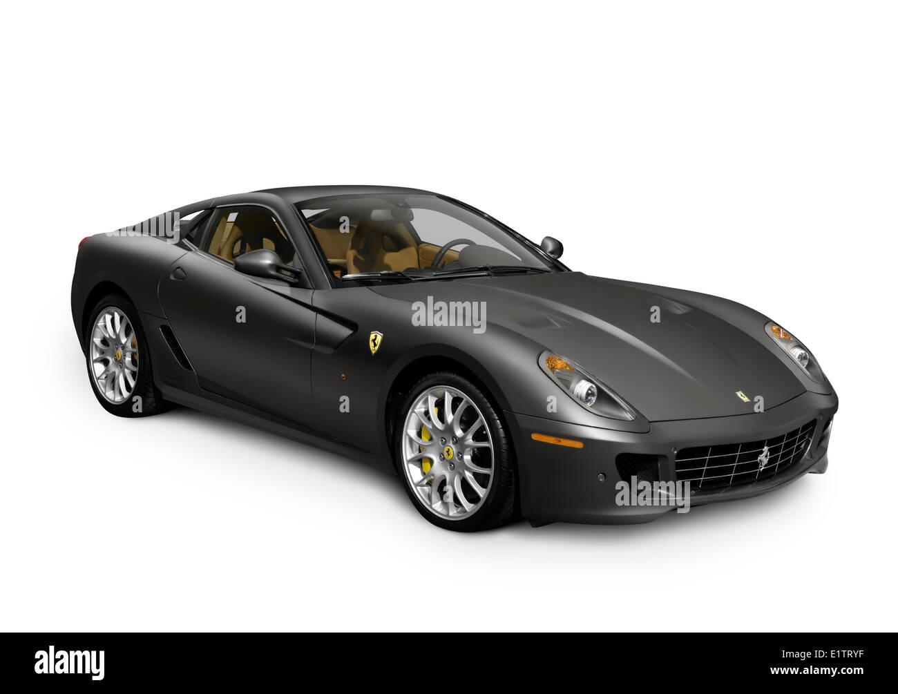 Gray Ferrari Fiorano 599 GTB Sports Car Isolated On White Background    Stock Image