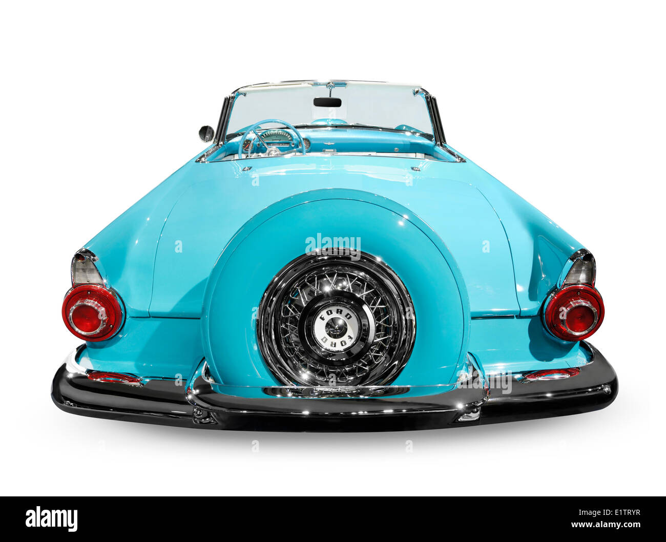 Blue 1956 Ford Thunderbird convertible isolated on white background - Stock Image