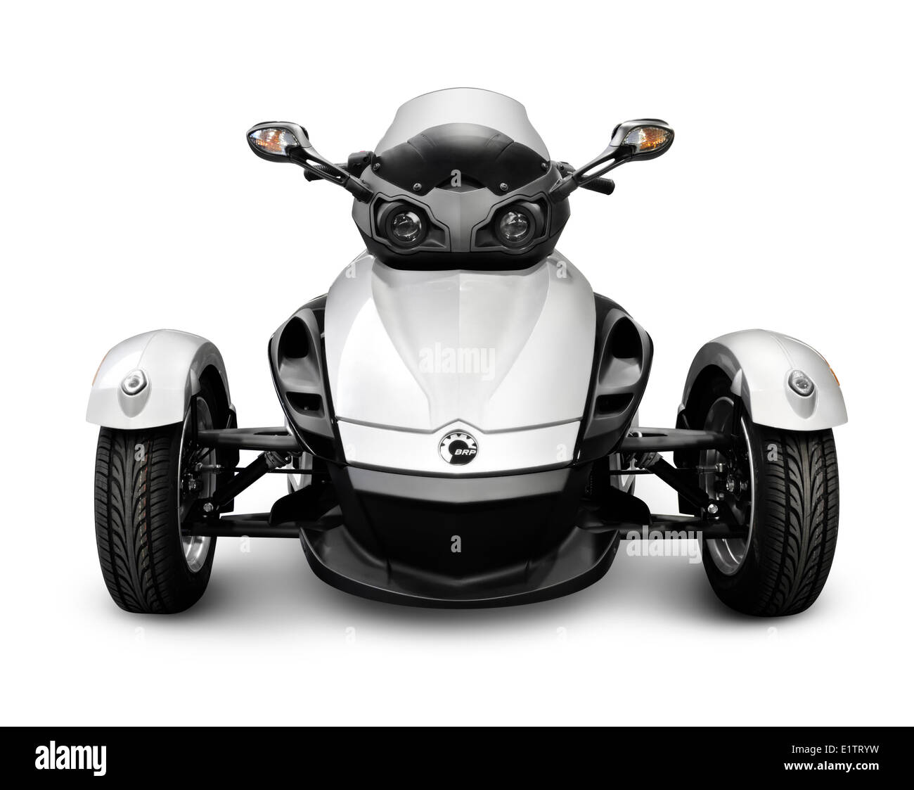 2009 BRP Can-Am Spyder Roadster three-wheeled vehicle. Isolated on white background. - Stock Image