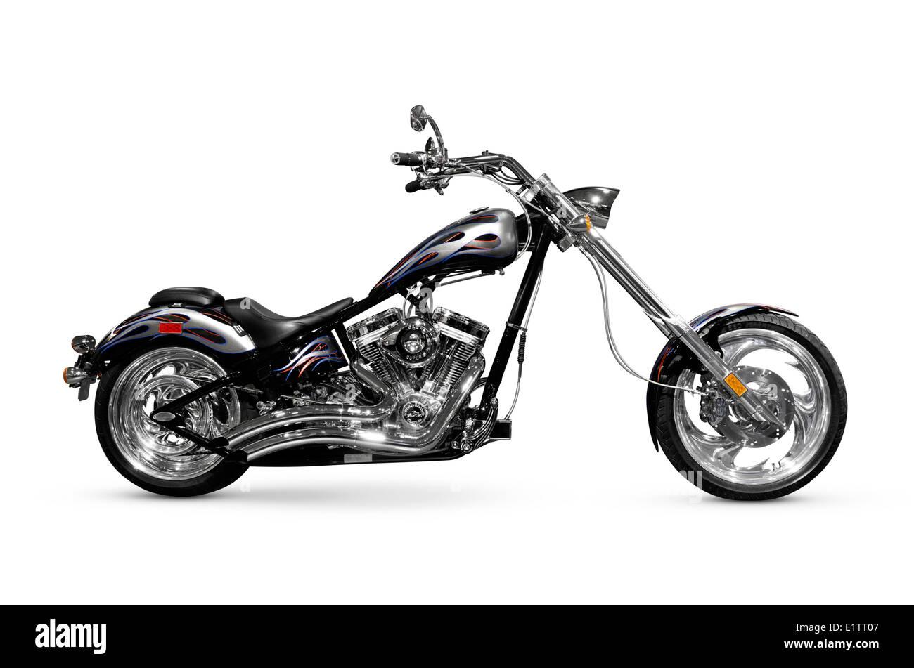 Shiny black with chrome chopper. Customized motorcycle. Isolated on white background - Stock Image