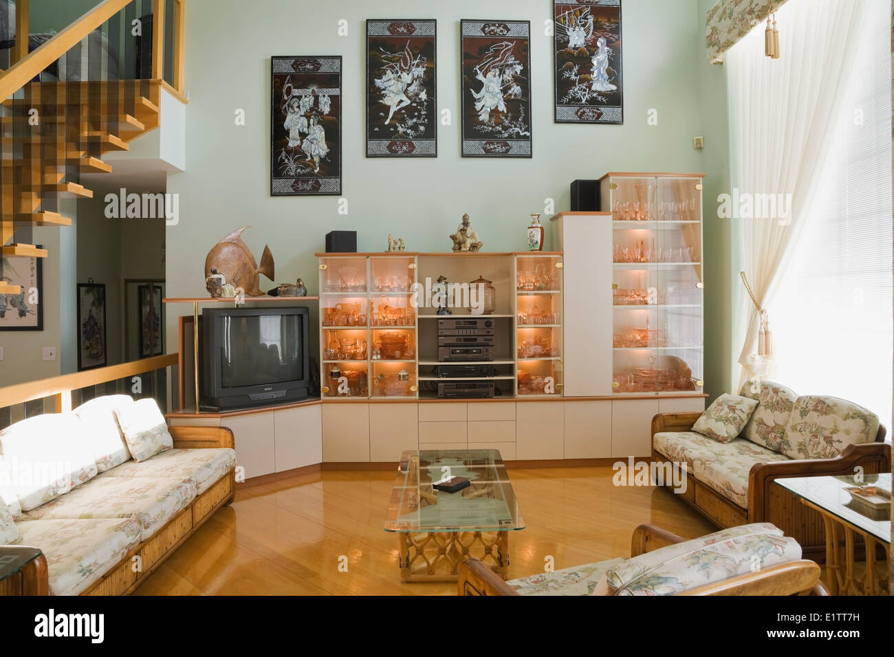 Chinese style furniture and furnishings in a modern cottage style residential home quebec canada