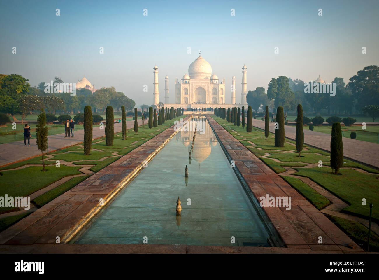 The Taj Mahal shines at sunrise, Agra India - Stock Image