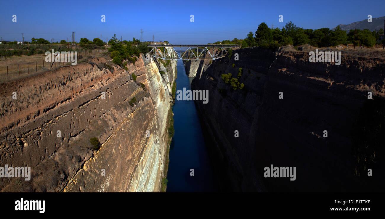 Europe, Greece, Corinthie, Peloponnese, Corinth Canal, Isthmia bridge, Stock Photo