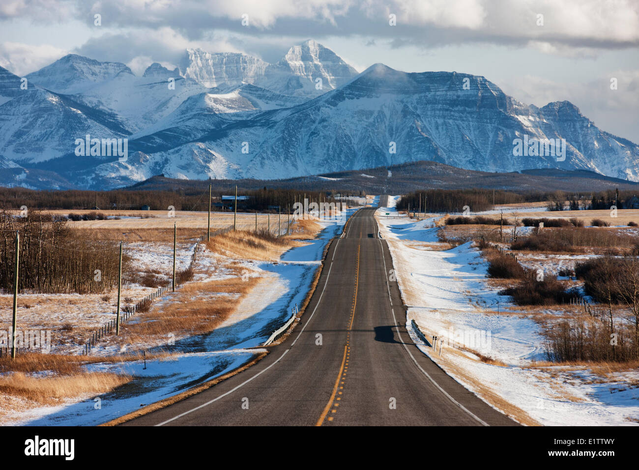 View of Mountains in winter, Twin Butte, Alberta, Canada - Stock Image
