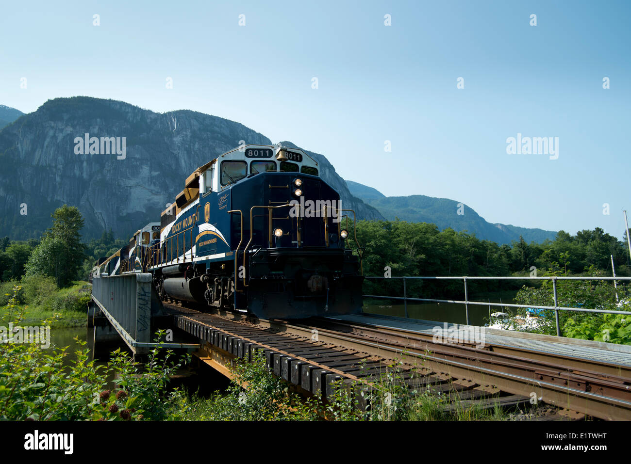 The Rocky Mountaineer Whistler Sea to Sky Climb and the Stawamus Chief. Squamish, BC, Canada. - Stock Image