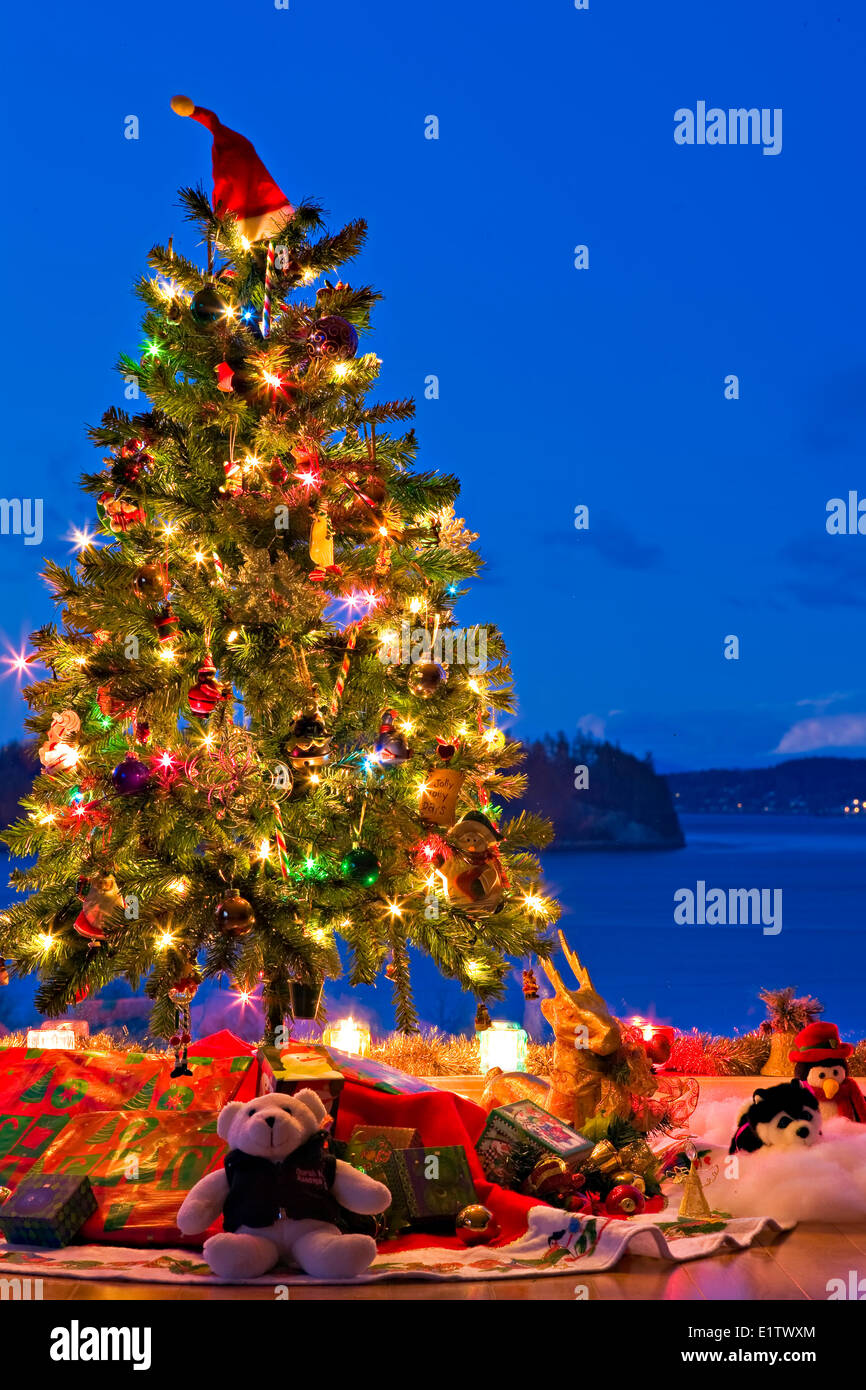 Christmas Tree with lights decorations gifts in a window at dusk The Artists Point Hyde Creek Port McNeill Northern - Stock Image
