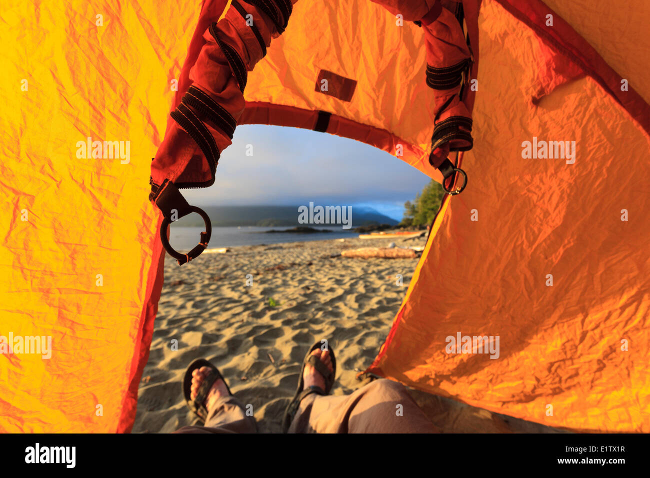 The view looking out from inside a tent on Vargas Island Clayoquot Sound British Columbia, Canada. - Stock Image