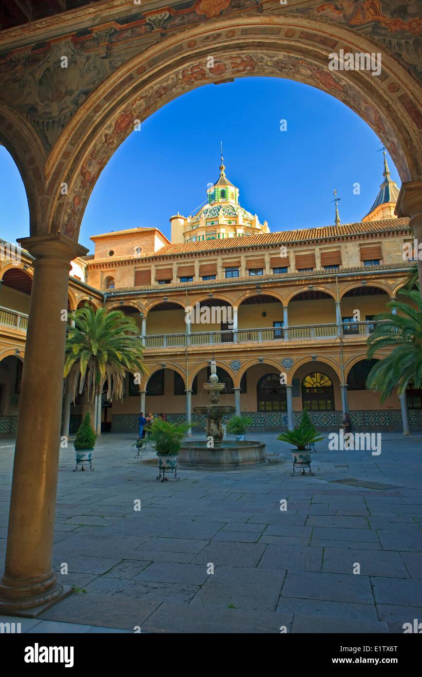 Dome the Basilica San Juan de Dios (church) seen the courtyard the Hospital Universitario Virgen de las Nieves Stock Photo