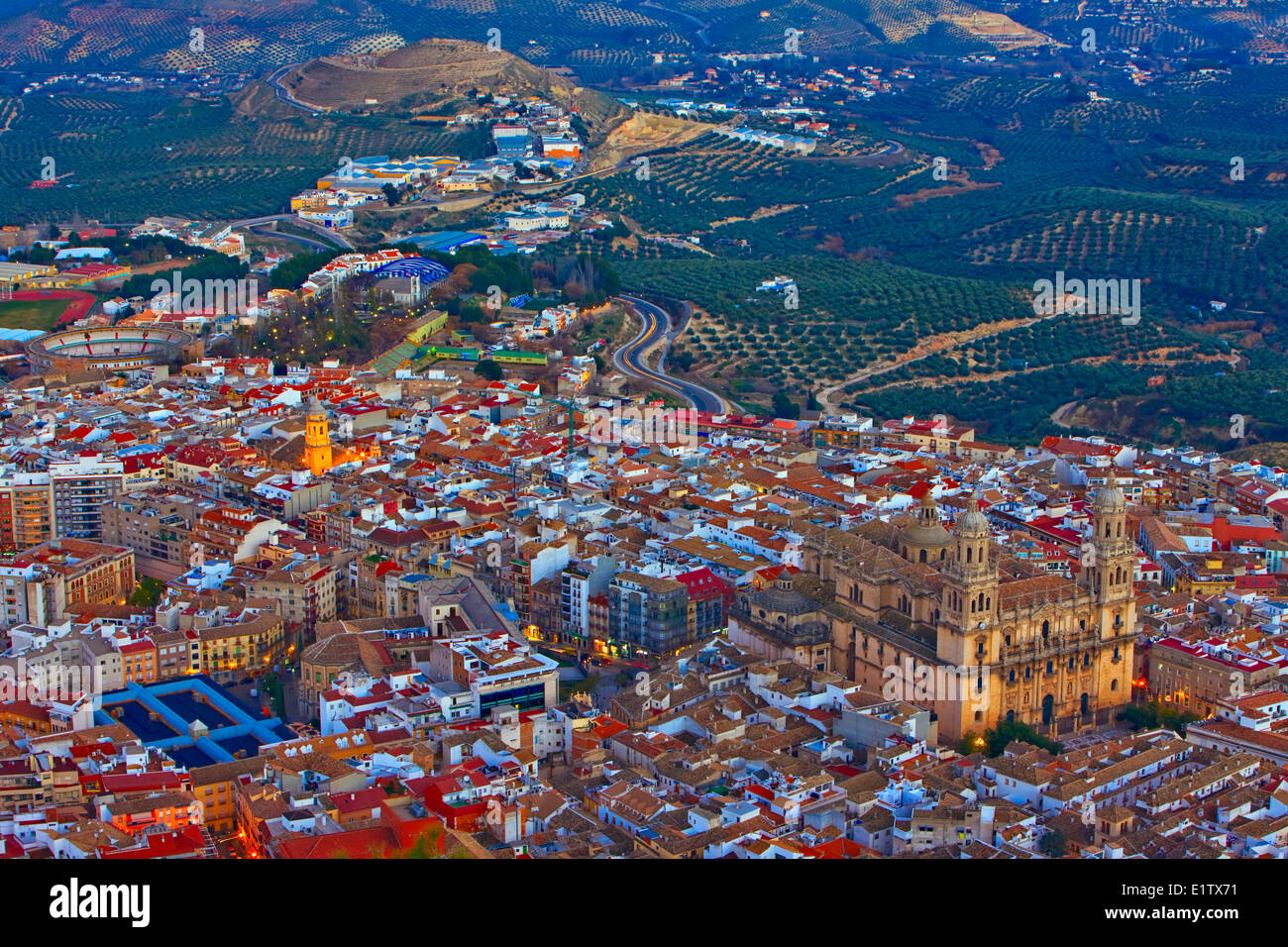 City of Jaen and Cathedral at dusk, Province of Jaen, Andalusia (Andalucia), Spain, Europe. - Stock Image