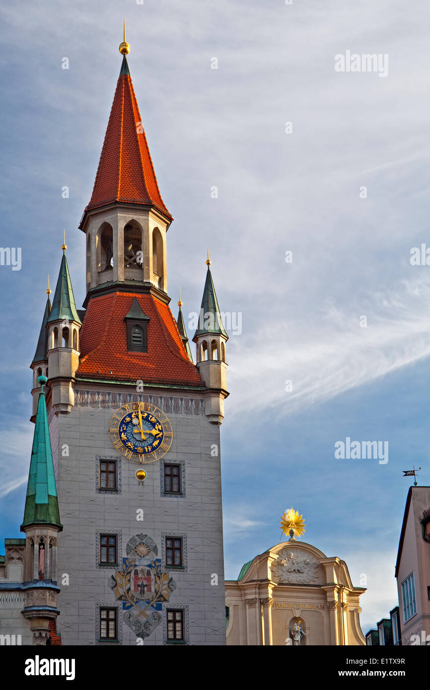 Bell tower of the Altes Rathaus (Old City Hall) in the Marienplatz in the City of München (Munich), Bavaria, - Stock Image