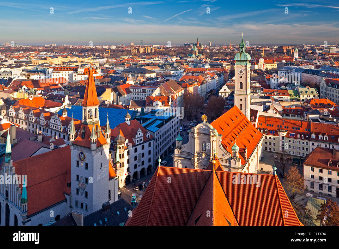 Aerial view over the Altes Rathaus (Old City Hall) Heilig-Geist-Kirche (Church the Holy Spirit) the City München - Stock Image