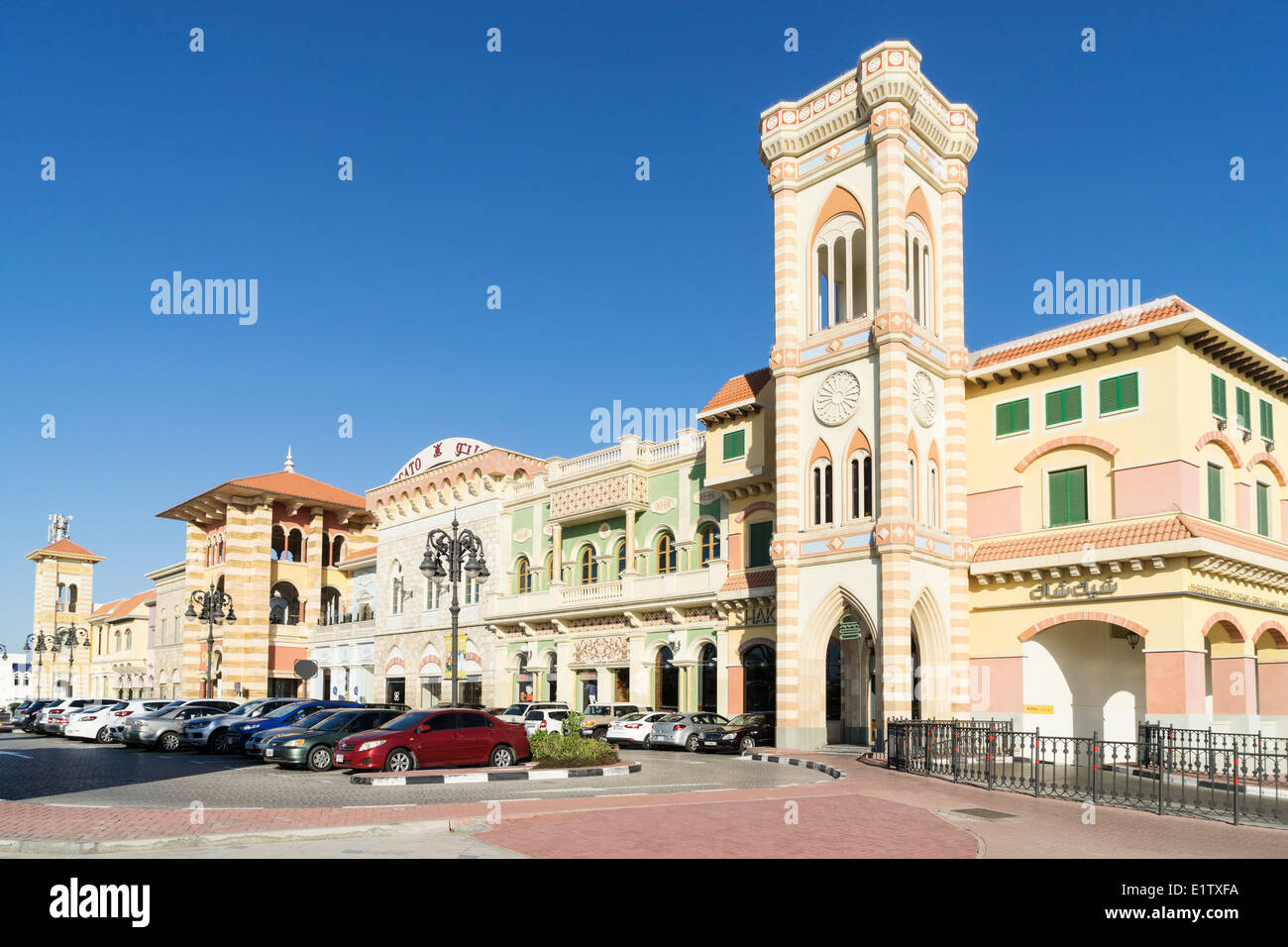 Exterior of Italianate Mercato Shoppin Mall in Dubai United Arab Emirates Stock Photo