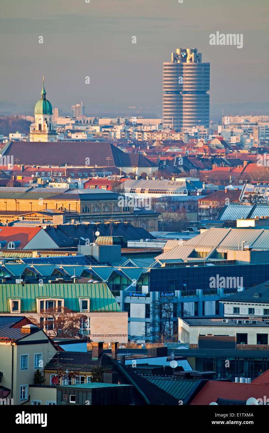 View over rooftops towards the BMW building in the City of München (Munich), Bavaria, Germany, Europe. - Stock Image