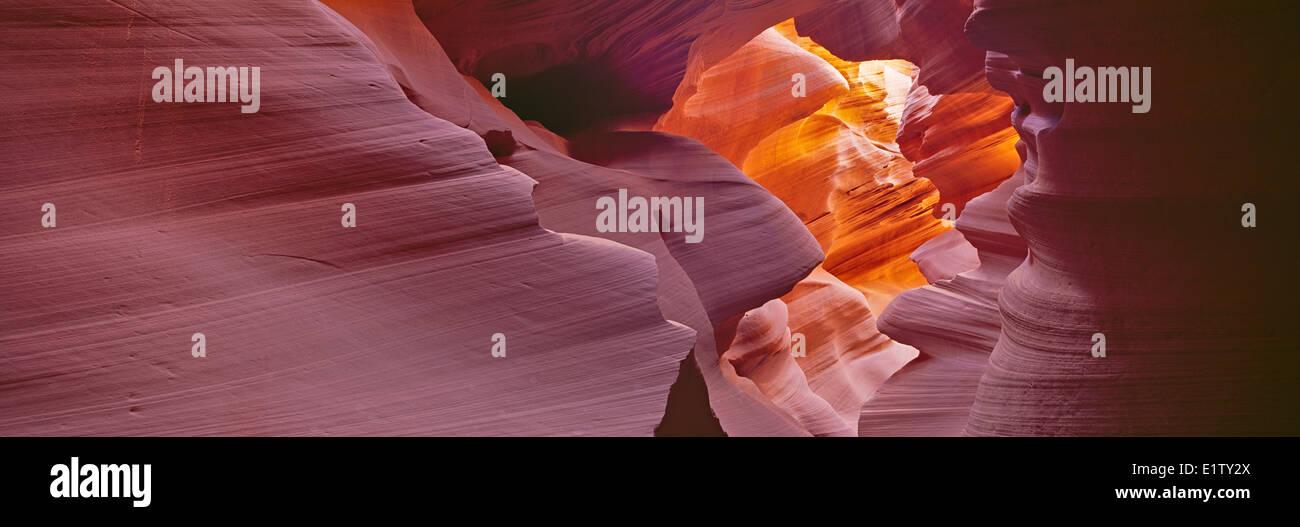 Panorama photo of Lower Antelope Canyon (slot canyon) near Page, Arizona, USA. Stock Photo
