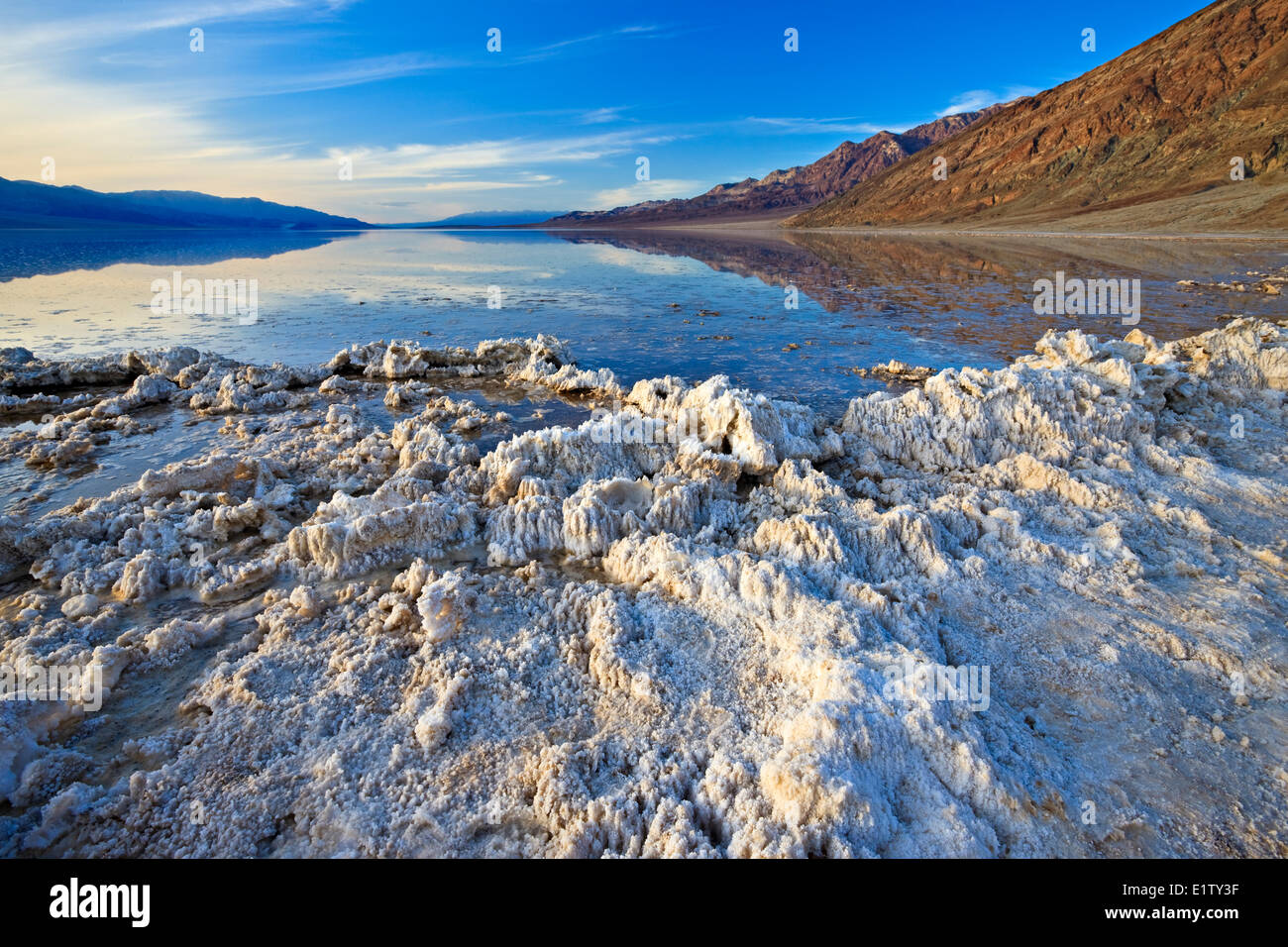 After heavy rain, water filled Badwater Basin, Badwater Basin, Death Valley National Park, California, USA - Stock Image