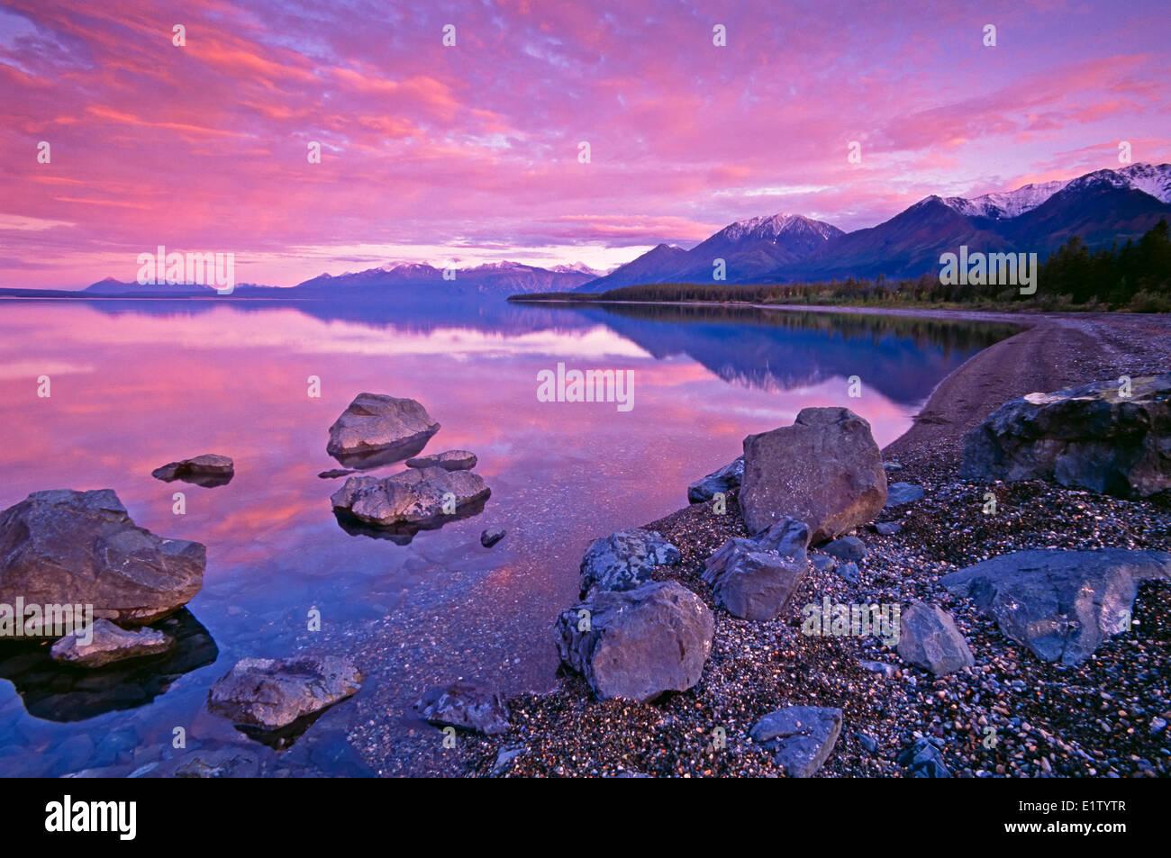 Kluane Lake at sunset, Yukon Territory, Canada - Stock Image