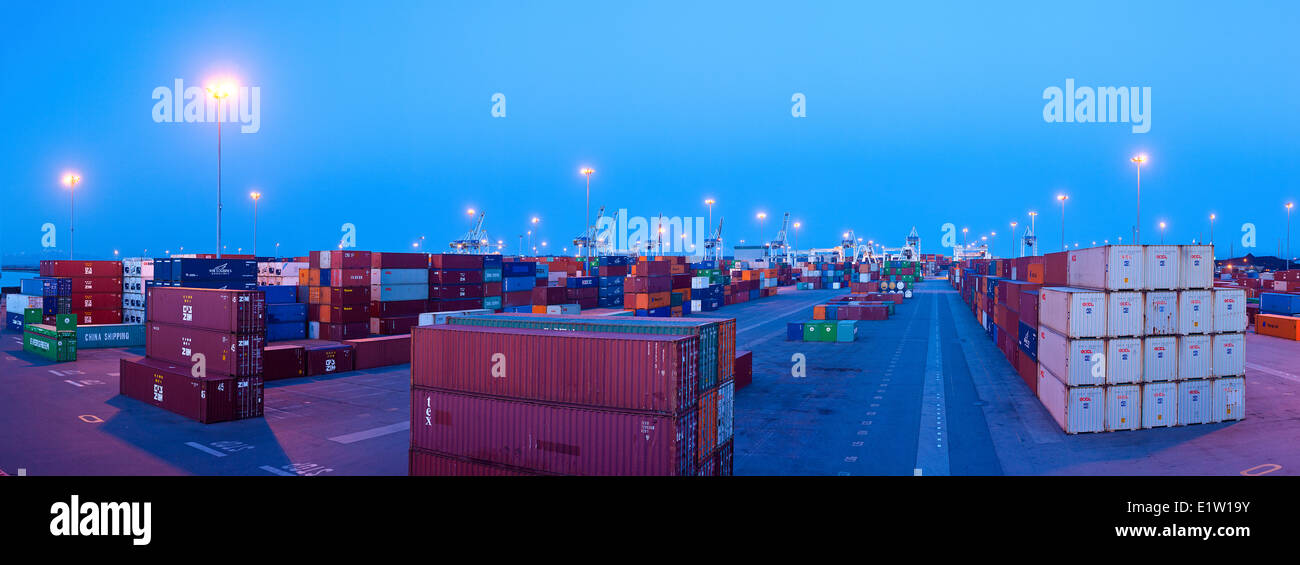 Shipping Containers at Delta Port Terminals. - Stock Image