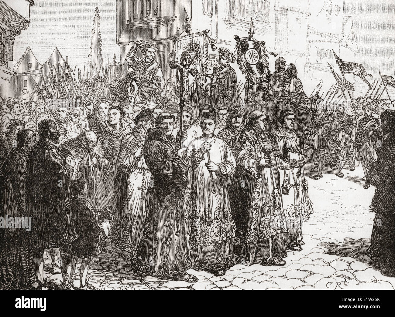 The Pilgrimage of Grace, a popular rising in Yorkshire in 1536 in protest against Henry VIII's break with Roman - Stock Image