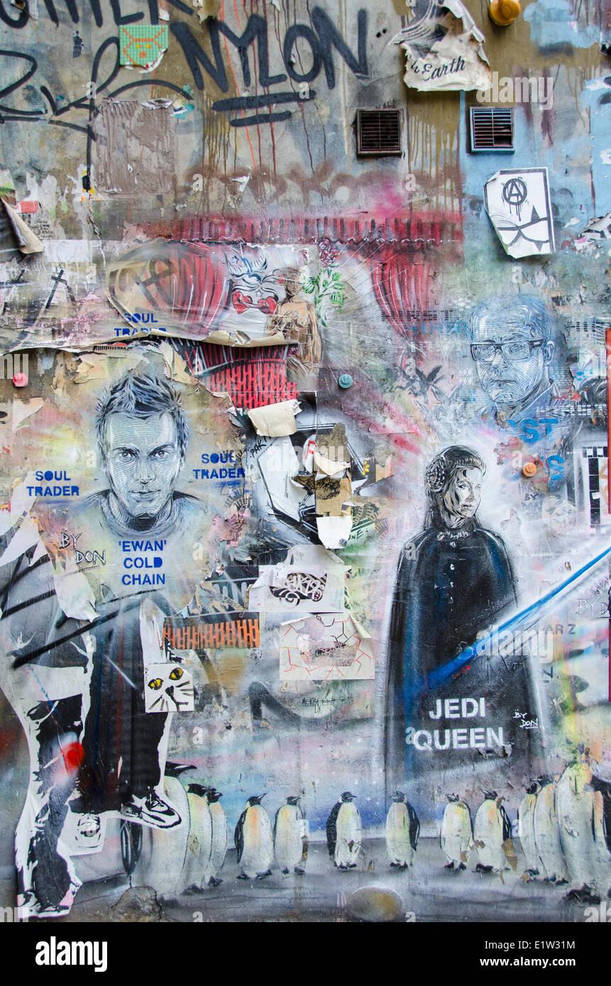 Street Art, near Brick Lane, Shoreditch, East London, England - Stock Image