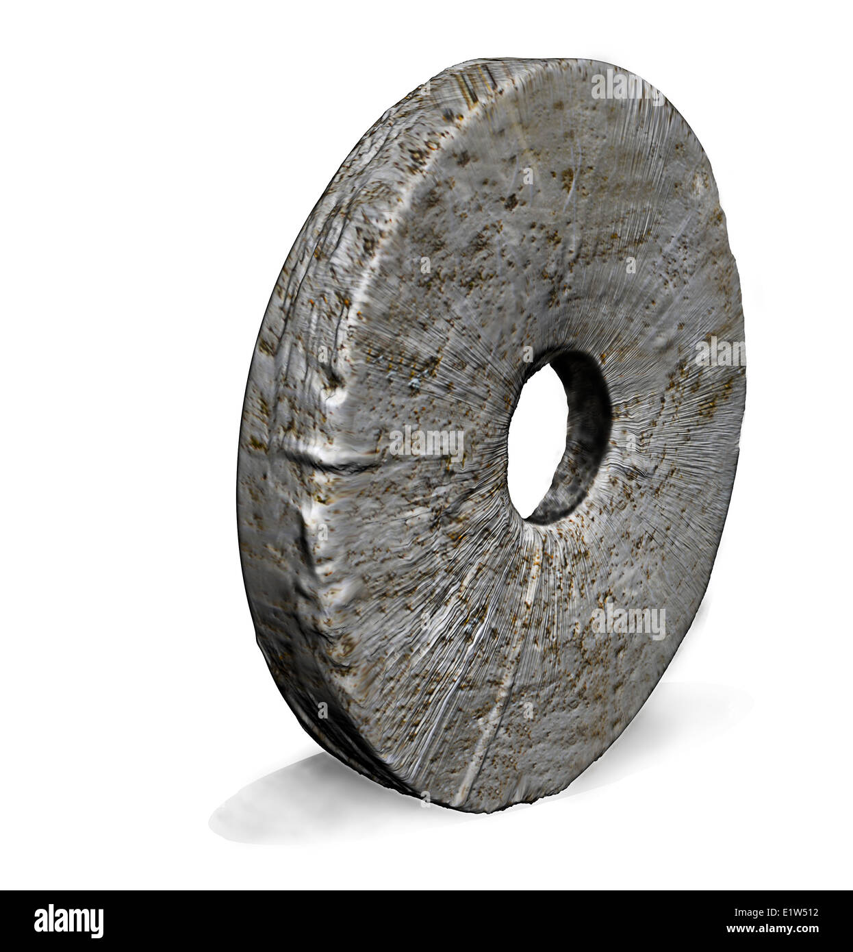 Stone Wheel made in 3d software - Stock Image