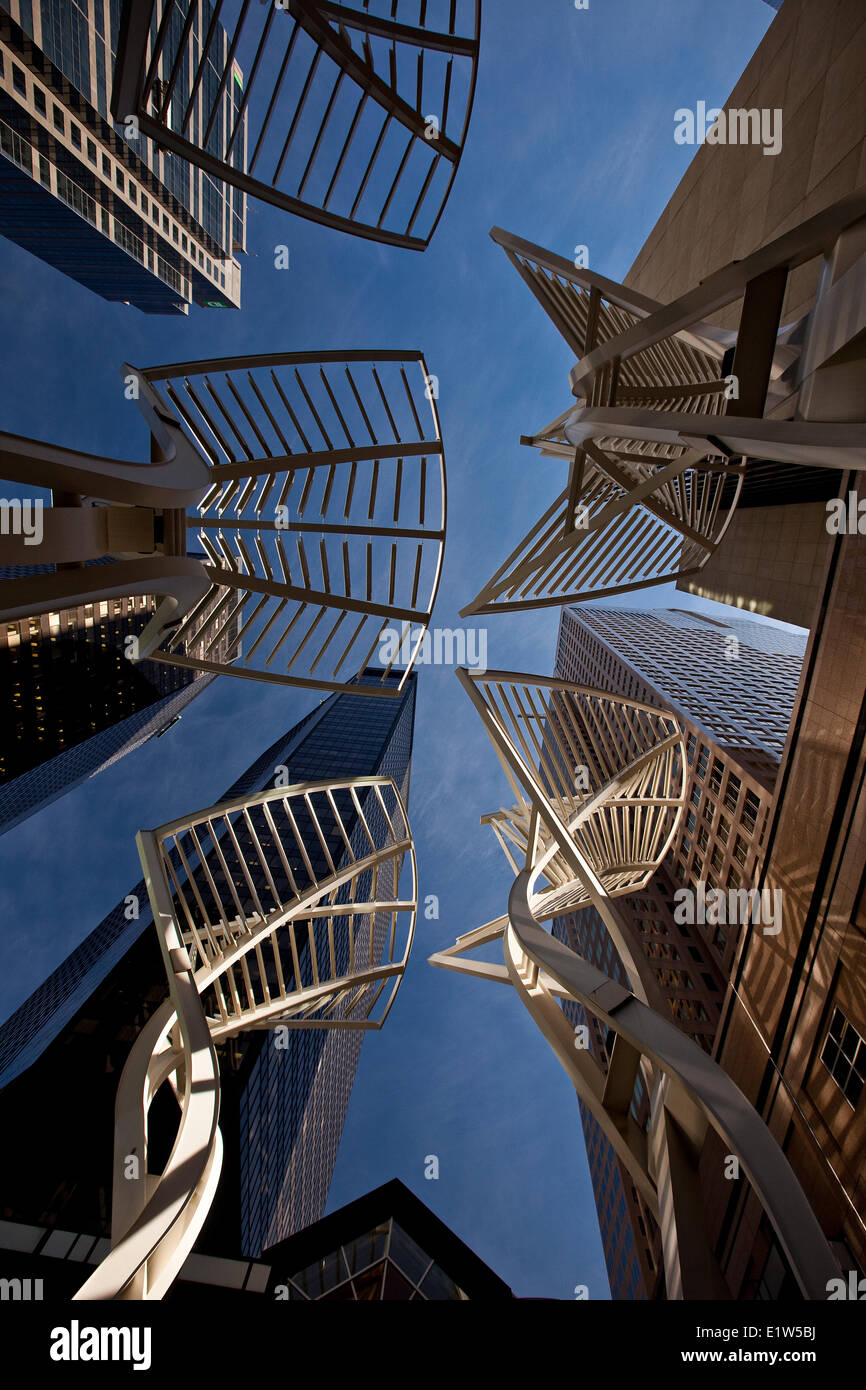 The steel ´Trees´ sculpture designed to reduce wind gusts between the buildings on Stephen Avenue downtown - Stock Image