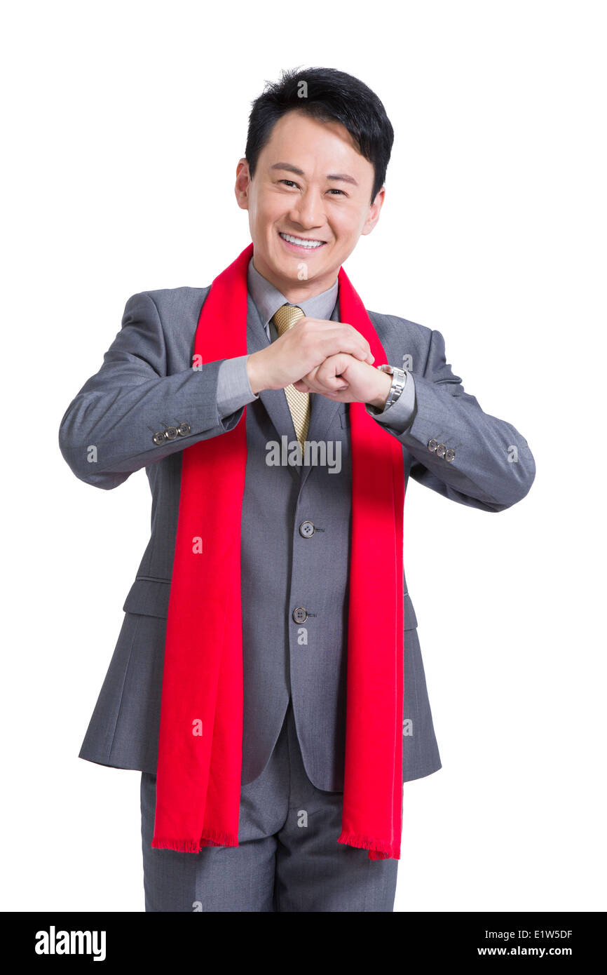 Businessman offering traditional chinese new year greeting stock businessman offering traditional chinese new year greeting m4hsunfo