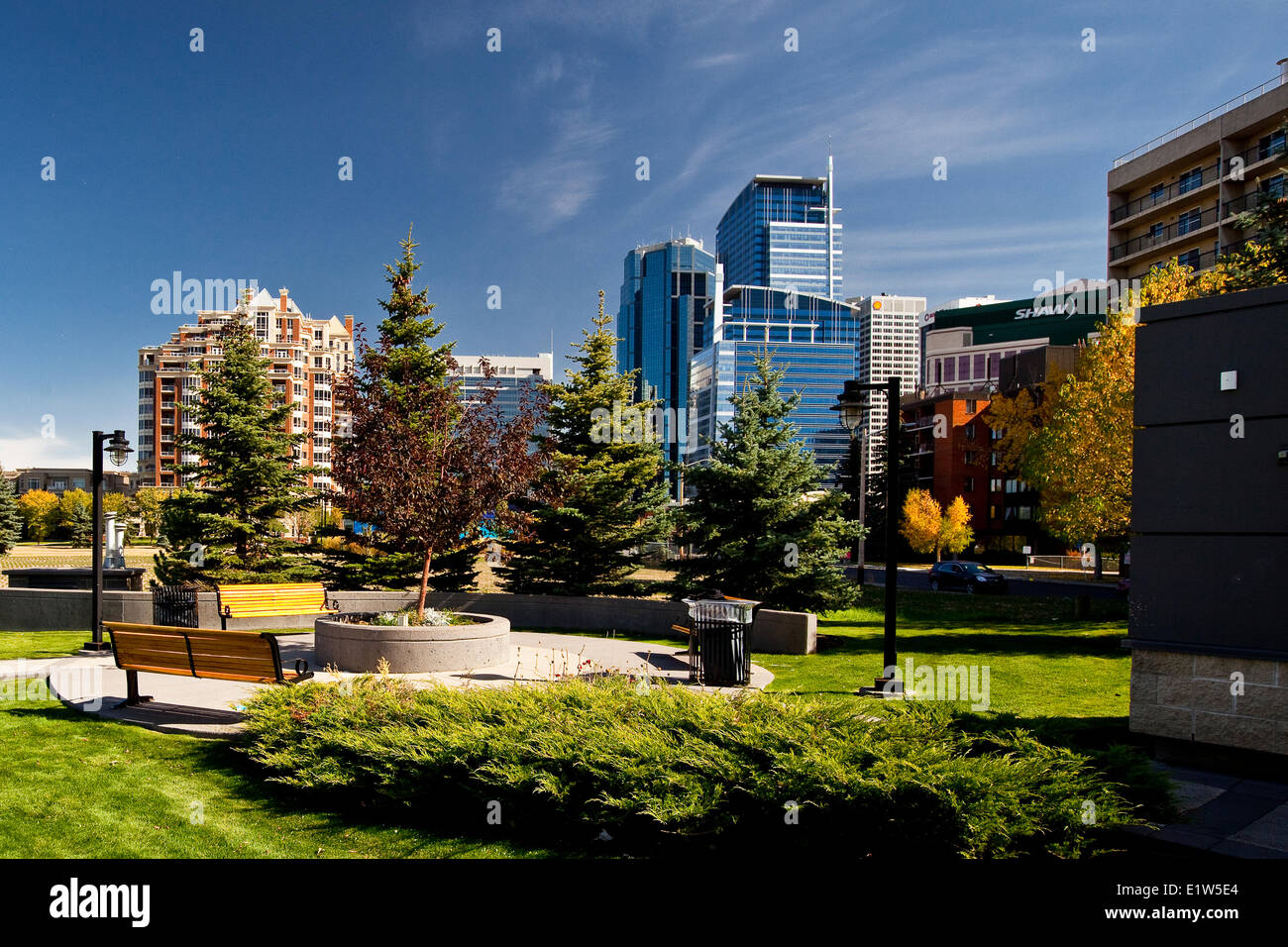 park in downtown Calgary, AB, Canada. - Stock Image