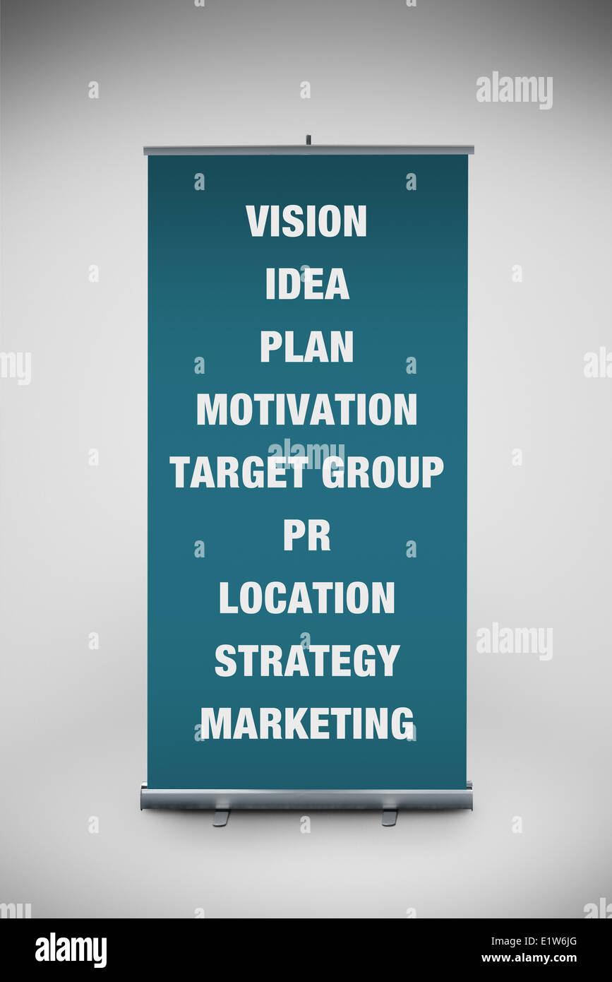 Business keywords printed on roll up banner, point of sale outdoor graphics. - Stock Image