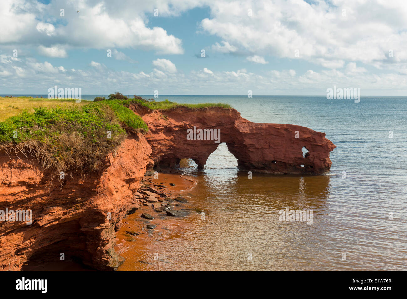 Eroded red sandstone cliffs, Kildare Capes, Prince Edward Island, Canada - Stock Image
