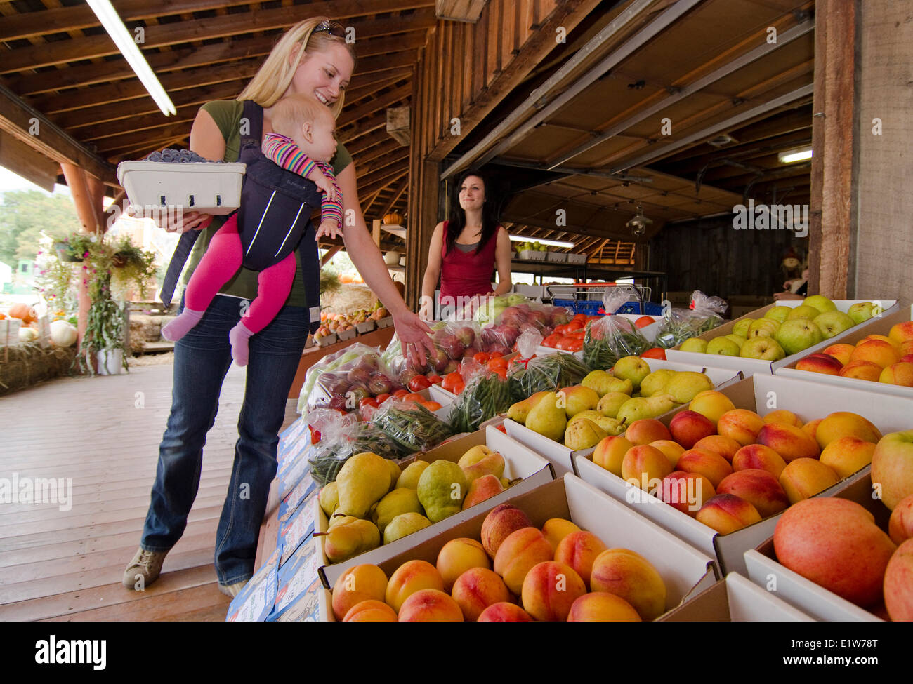 Touring mom baby shop for fresh produce at Bear's Fruit Stand in Keremeos in the Similkameen region British Columbia Stock Photo