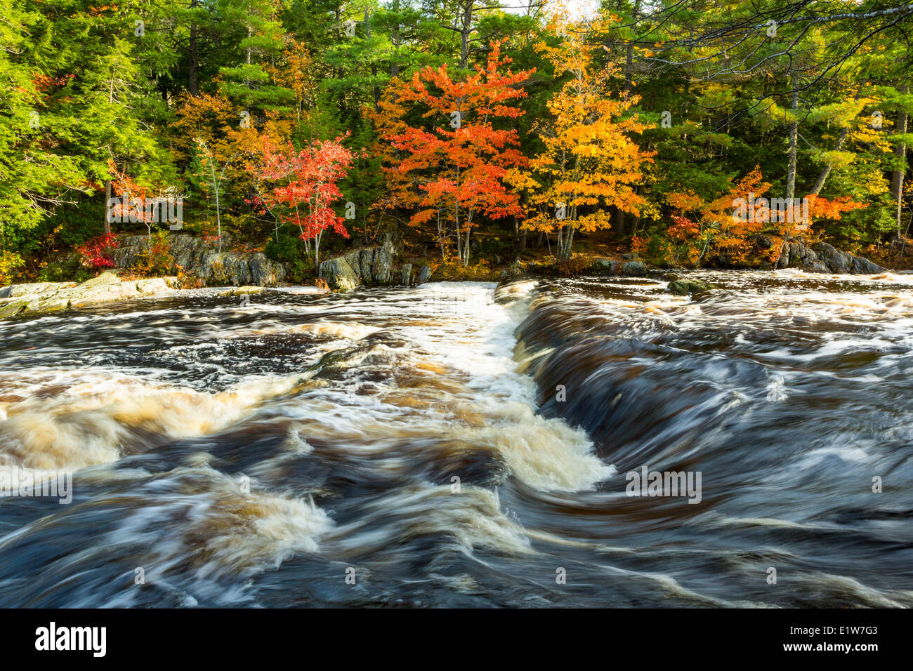 Mills Falls, Mersey River, Kejimkujik National Park, Nova Scotia, Canada Stock Photo