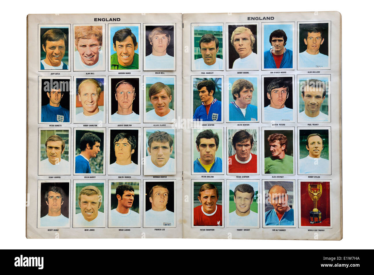 Full England World cup squad for Mexico 1970. Football soccer player card collection - Stock Image