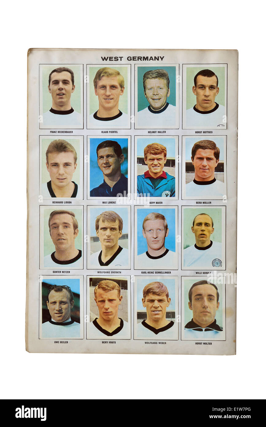 The West German football squad, 1970, Mexico. Football soccer stars player card collection, - Stock Image