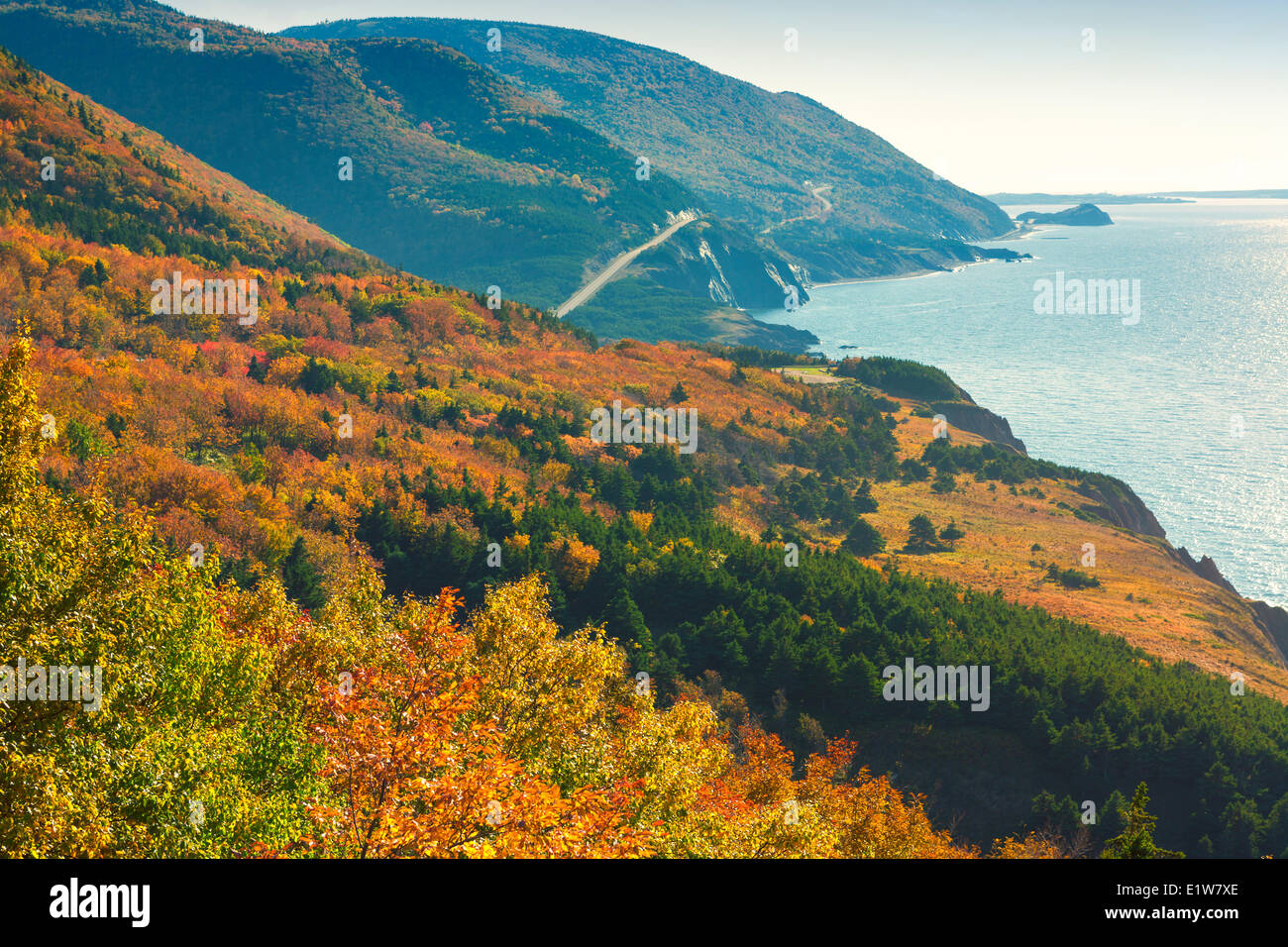 View of Cape Rouge, Cape Breton Highlands National Park, Cape Breton, Nova Scotia, Canada - Stock Image