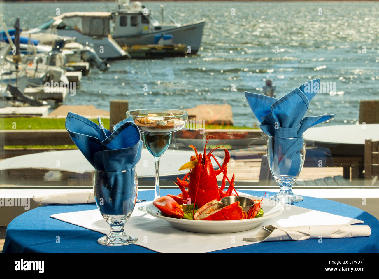 Lobster plate, Boat Shop steak & Seafood Restaurant, Alberton, Prince Edward Island, Canada - Stock Image