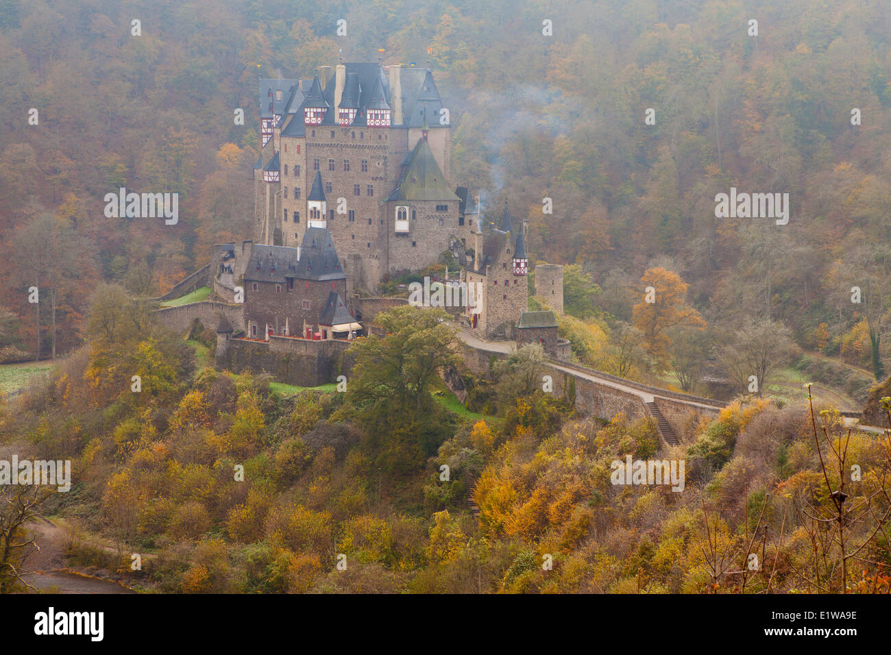 Eltz Castle in Autumn, Rhineland-Pfalz, Germany Stock Photo