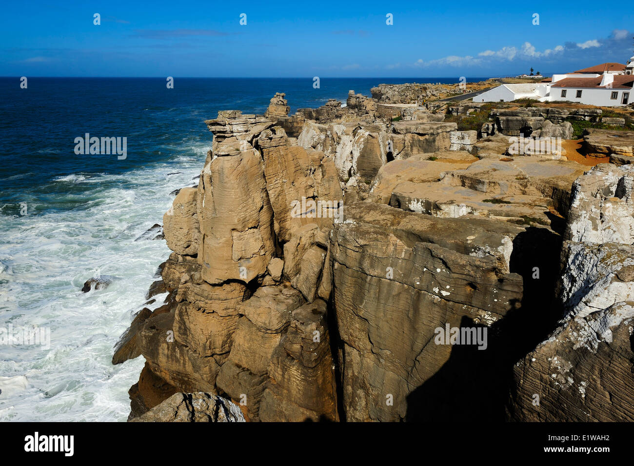 view of the coast of the Atlantic ocean, Peniche, Portugal - Stock Image