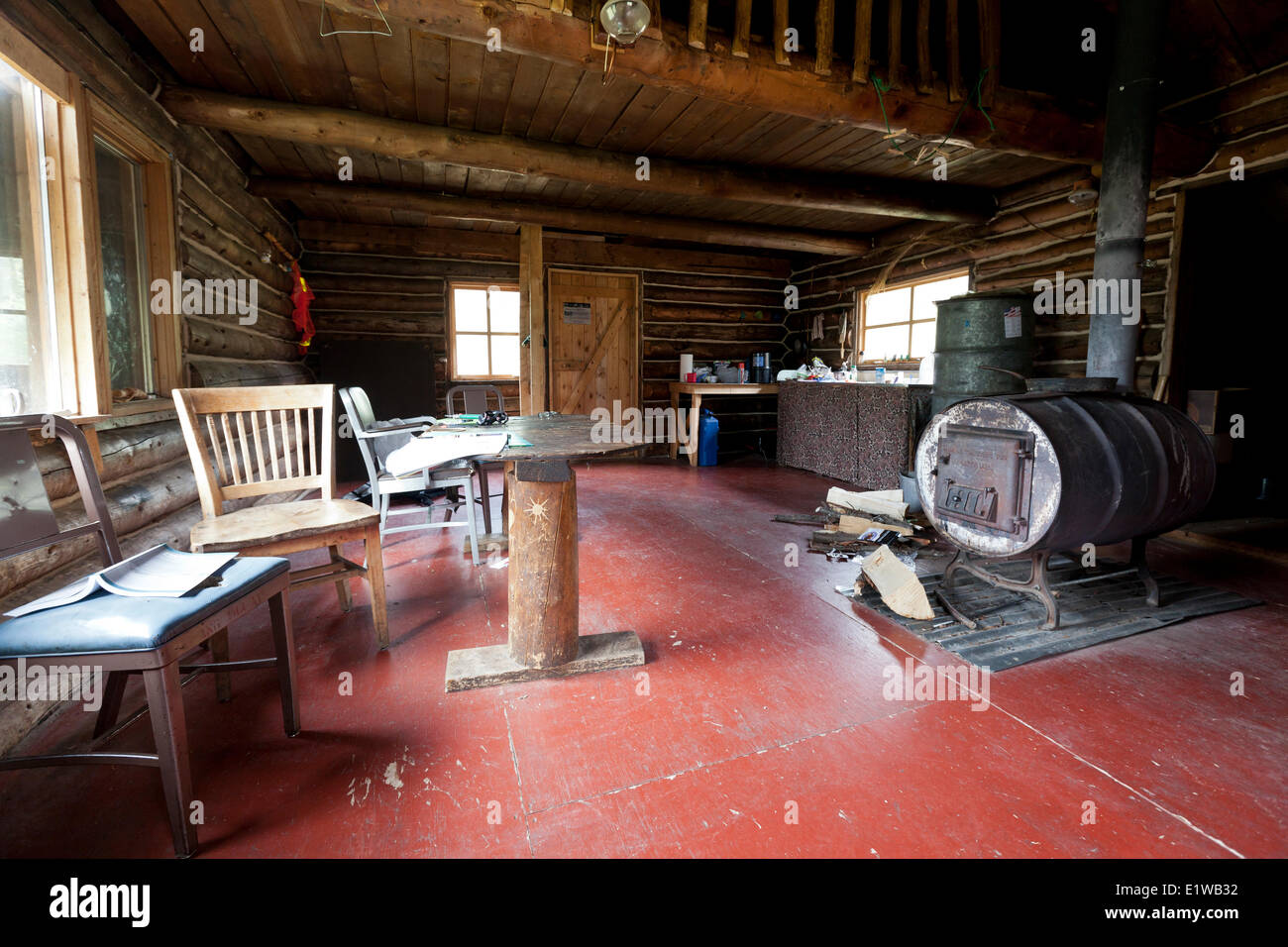 The interior a public-use cabin a short hike in the Rock Lake Rest Area on the Nabesna Road in Wrangel-St. Elias - Stock Image