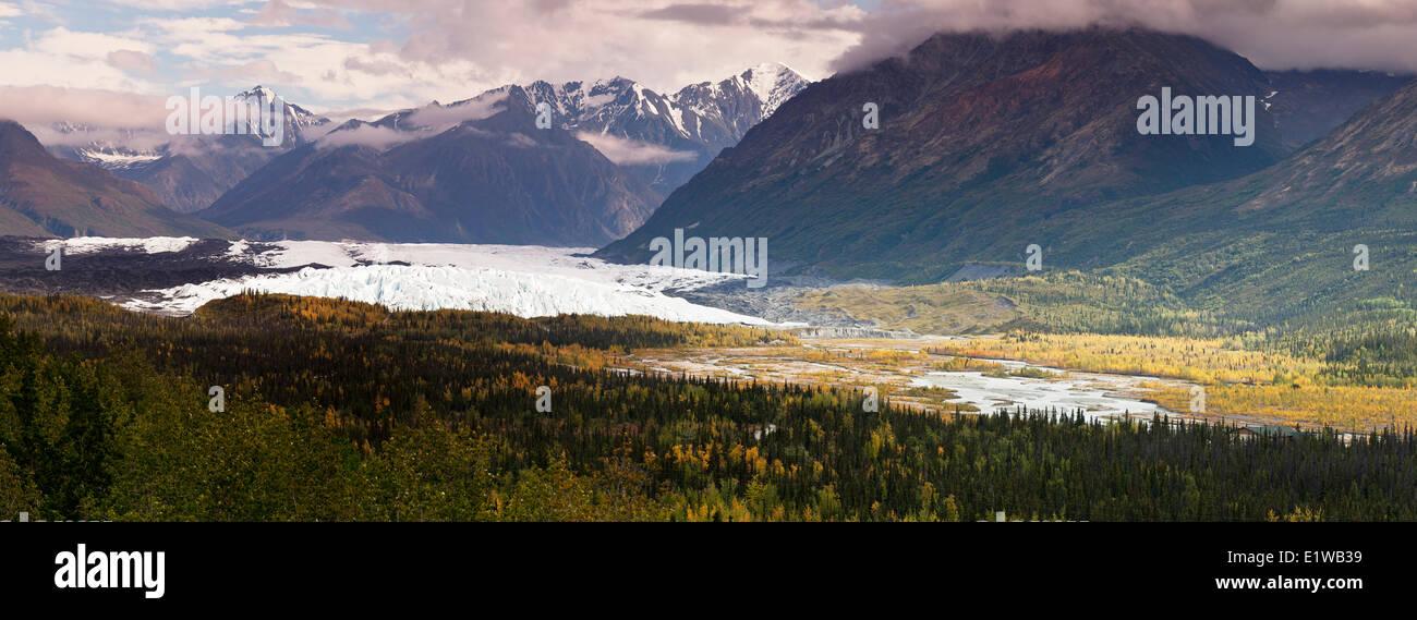 The Matanuska Glacier the scenic viewpoint along the Glenn Highway in Matanuska Glacier State Recreation Site Alaska - Stock Image