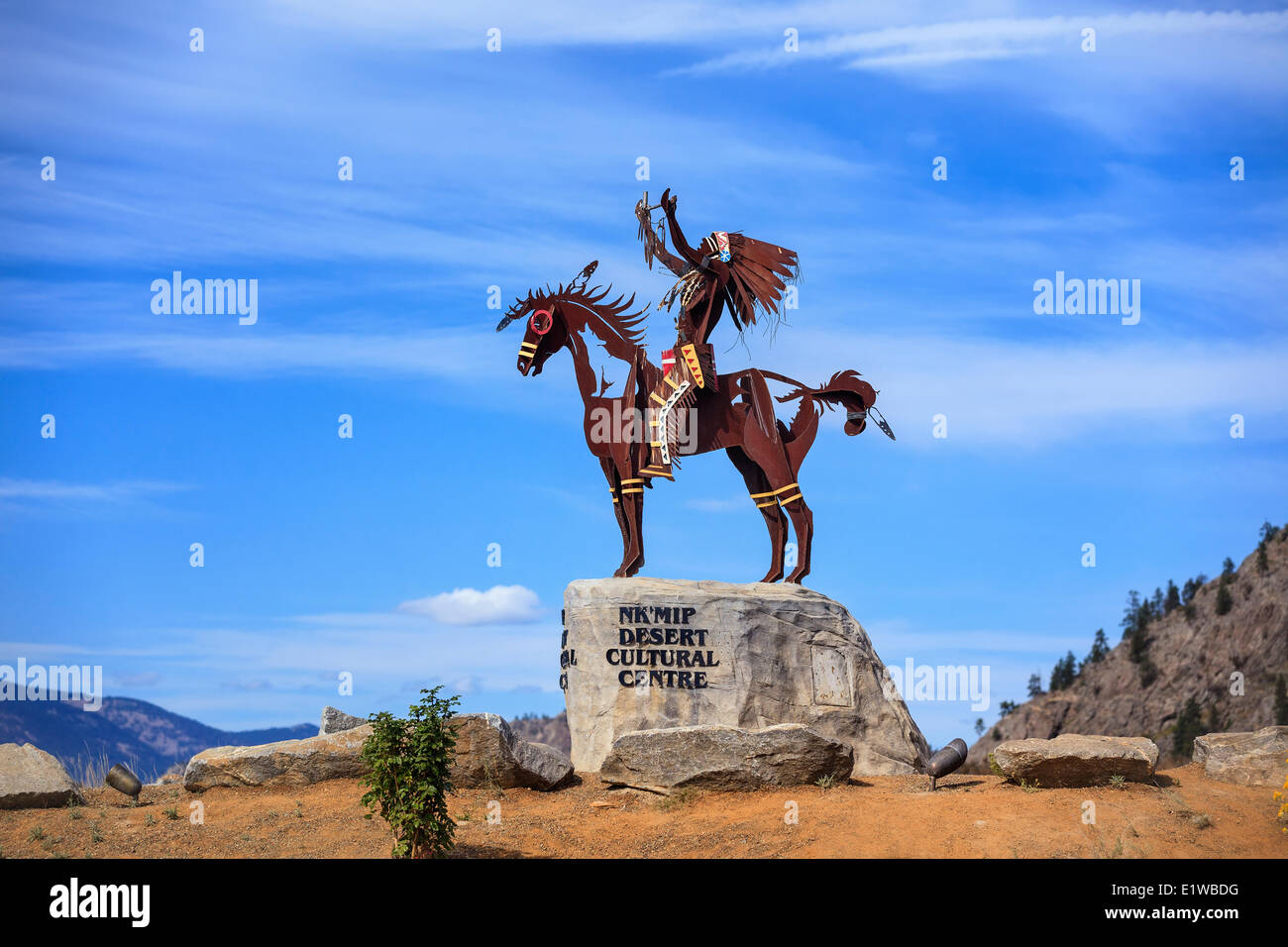 First Nations sculpture, Nk'MIP Desert Cultural Centre, Osoyoos, British Columbia, Canada - Stock Image