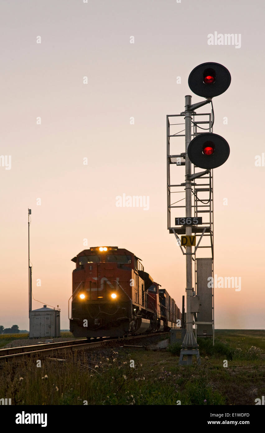 close-up of rail signal with approaching train in the background, near Winnipeg, Manitoba, Canada - Stock Image