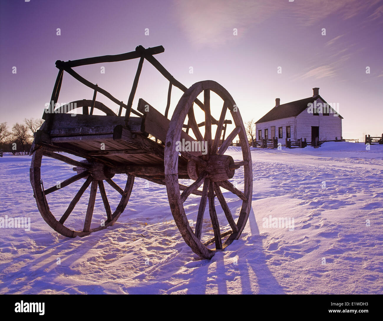 Red River cart, Lower Fort Garry National Historic Site, near Selkirk, Manitoba, canada - Stock Image