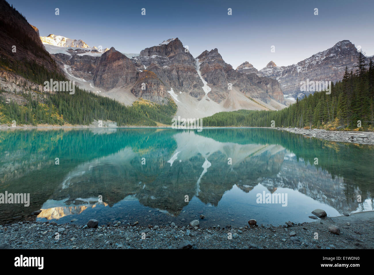 Moraine Lake the Valley the Ten Peaks the Lakeshore trail in Banff National Park Alberta Canada - the colour tourquoise - Stock Image