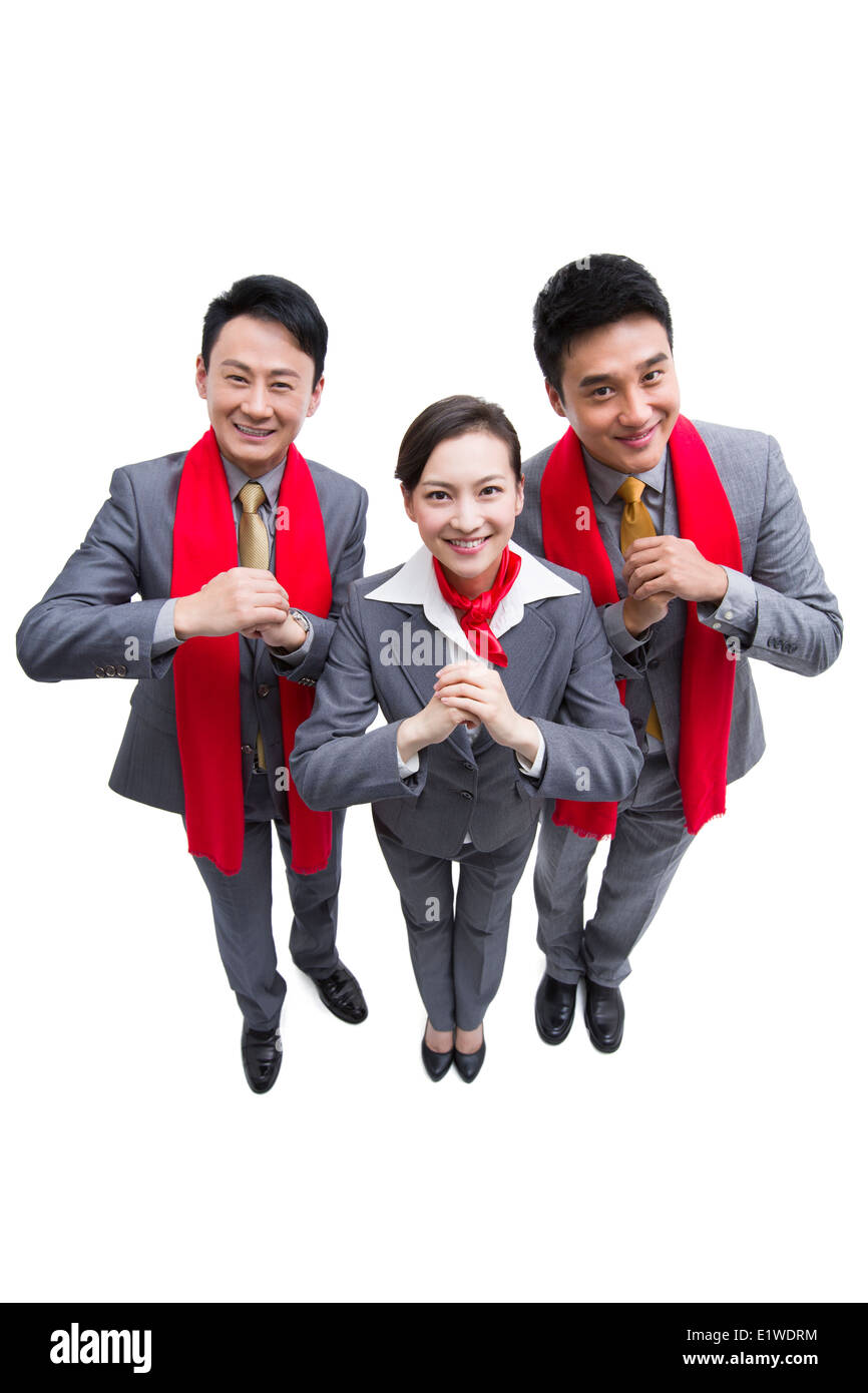 Happy business people offering traditional chinese new year greeting happy business people offering traditional chinese new year greeting m4hsunfo