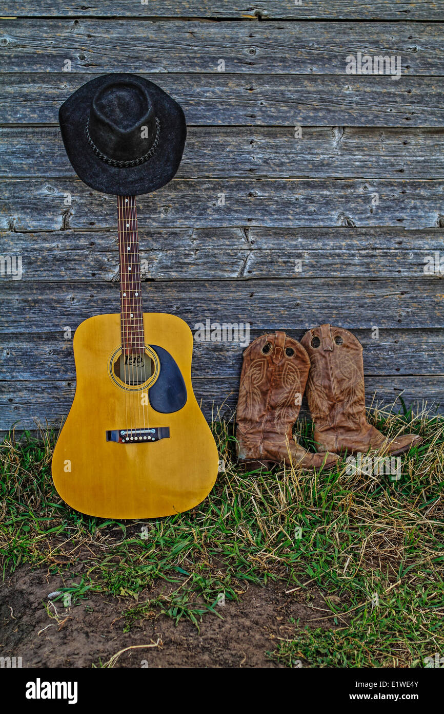 2019 year look- Boots cowboy and hat and guitar photo