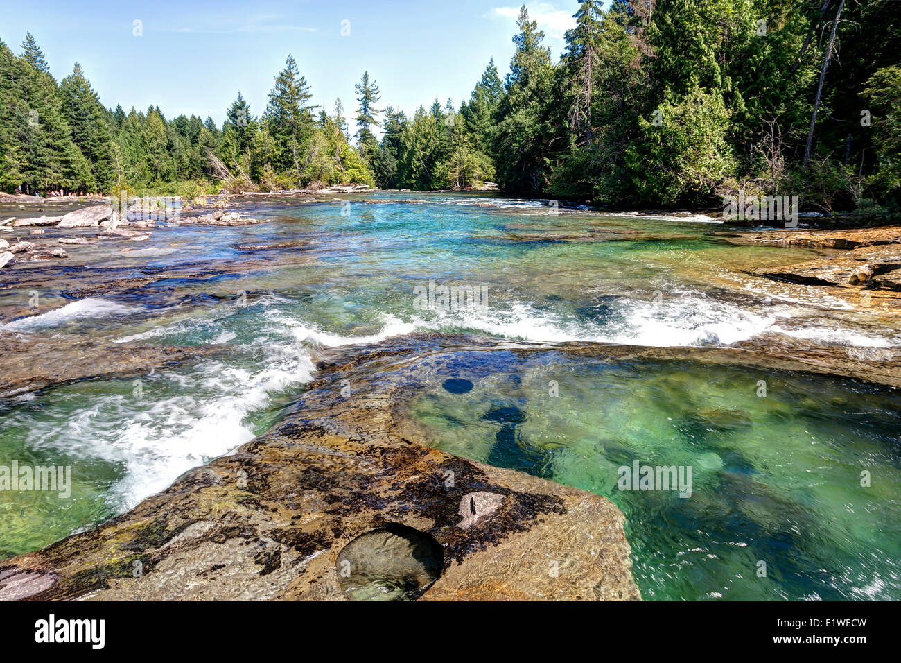 Sandstone potholes near Nymph Falls a popular swimming area on the Puntledge River.  Courtenay The Comox Valley - Stock Image