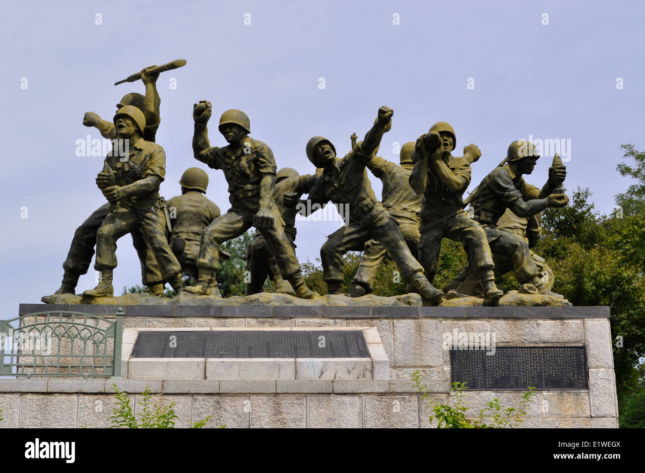 Ten Human Bombs and Memorial Cemetery monuments,Unification Park,Paju,South Korea - Stock Image