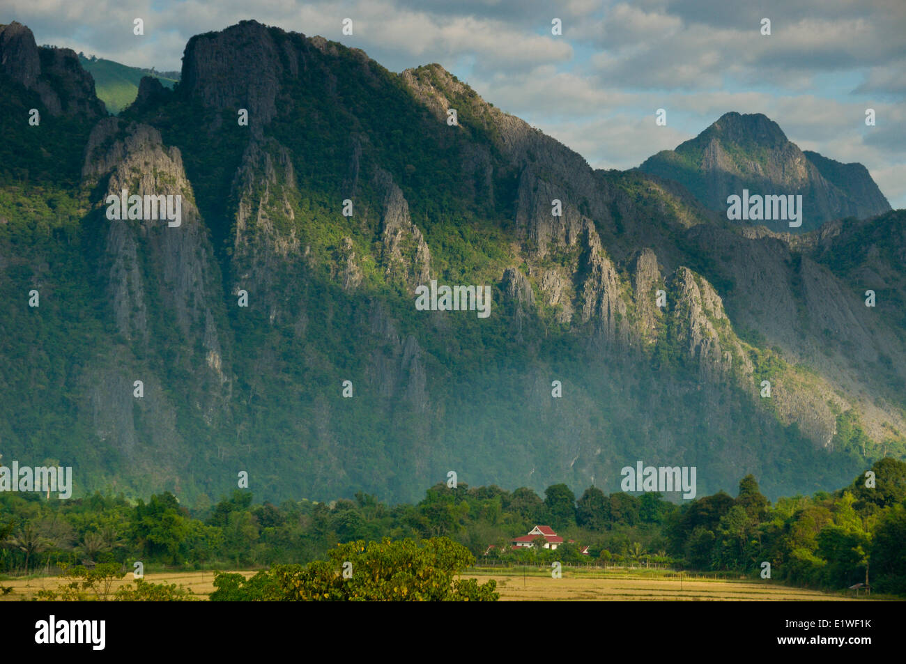 Mountainsides in rural Laos near the town of Vang Vieng - Stock Image