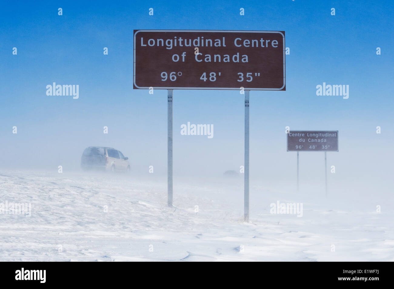 signage along Trans-Canada Highway east of Winnipeg during winter, Manitoba, Canada - Stock Image